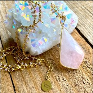 Rose quartz 14 K gold necklace